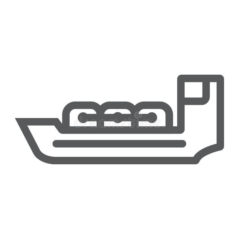 Linha ícone do petroleiro, barco e navio, sinal da embarcação, gráficos de vetor, um teste padrão linear em um fundo branco ilustração stock