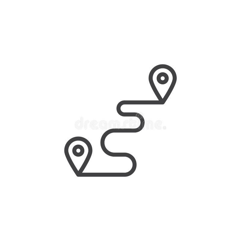 Linha ícone do ponto da trilha do destino ilustração royalty free