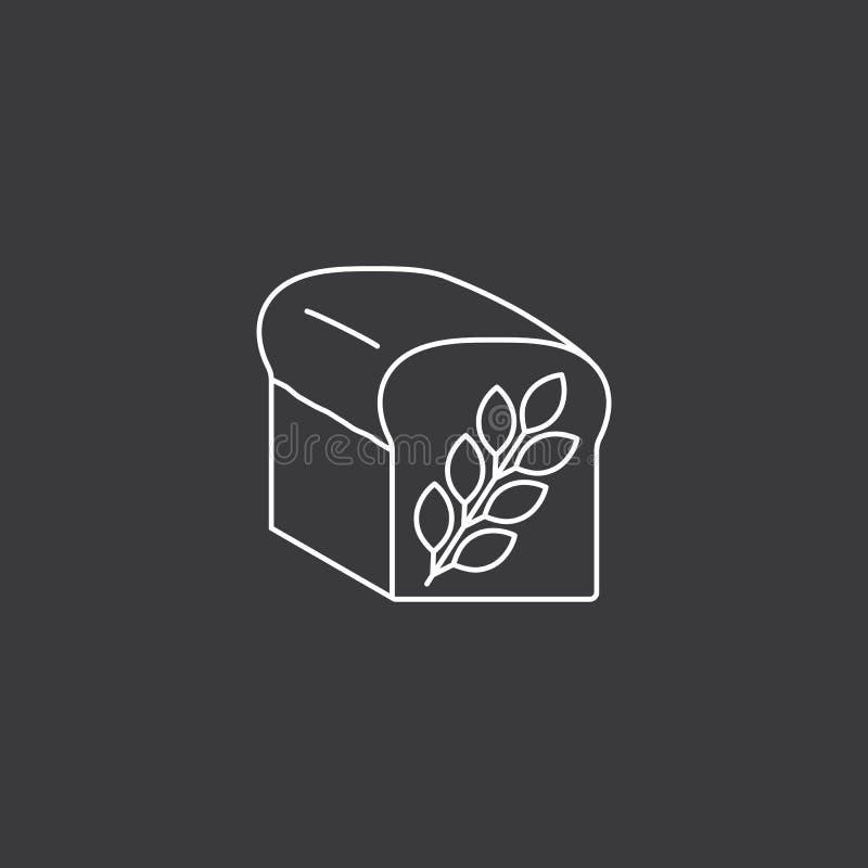 Linha ícone do preto do pão no fundo branco ilustração do vetor