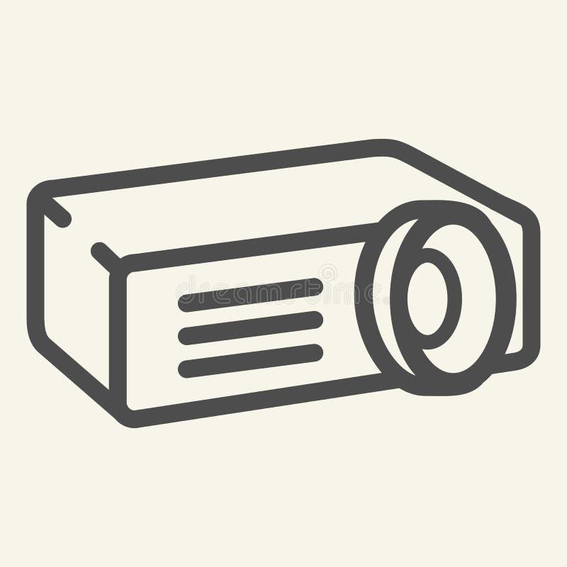 Linha ícone do projetor Ilustração do vetor do projetor de filme isolada no branco Os meios esboçam o projeto do estilo, projetad ilustração royalty free