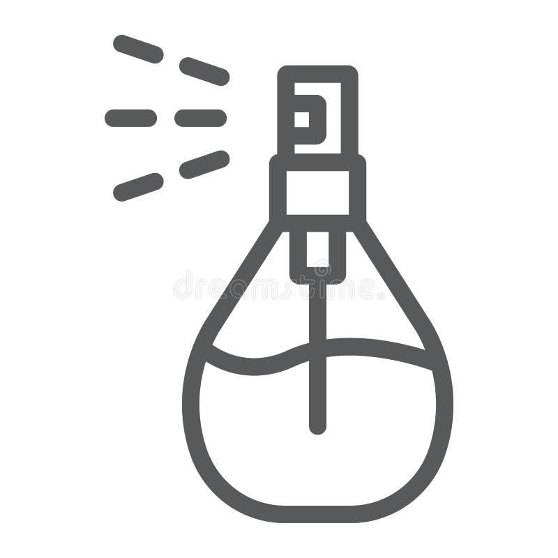 Linha ícone do pulverizador da água de Colônia, desodorizante e fragrância, sinal do perfume, gráficos de vetor, um teste padrão  ilustração stock