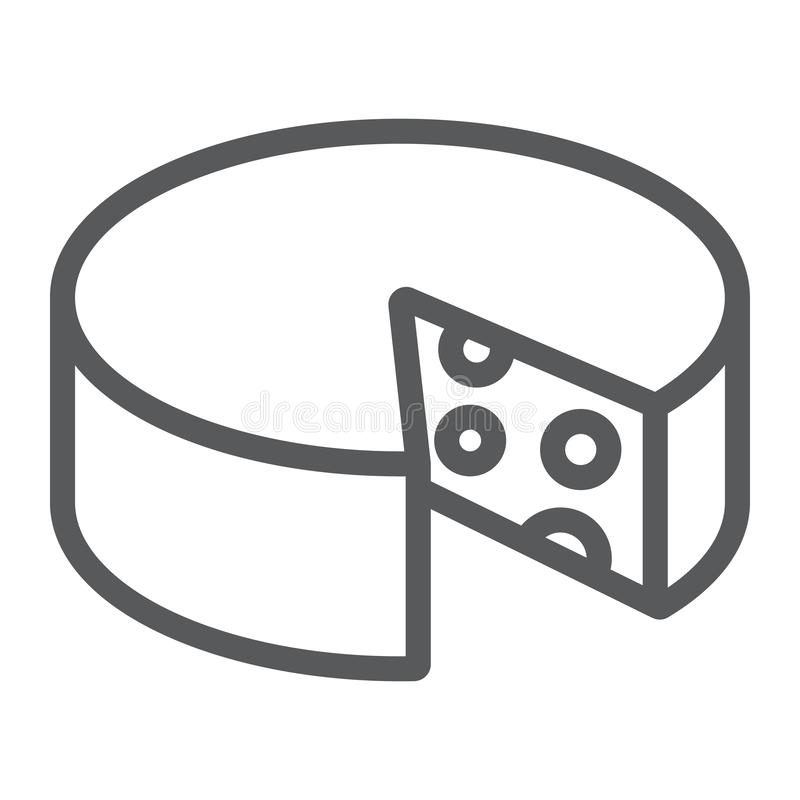 Linha ícone do queijo, alimento e leite, sinal do queijo Cheddar, gráficos de vetor, um teste padrão linear em um fundo branco ilustração royalty free
