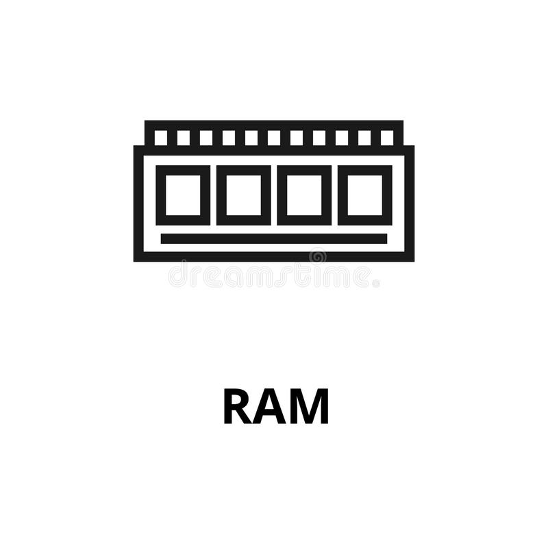 Linha ícone do Ram ilustração do vetor
