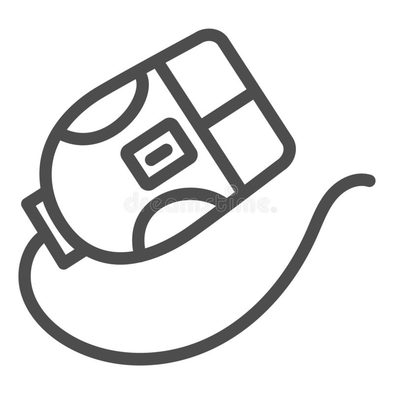 Linha ícone do rato do computador Ilustração do vetor do clique isolada no branco Projeto do estilo do esboço do dispositivo, pro ilustração stock