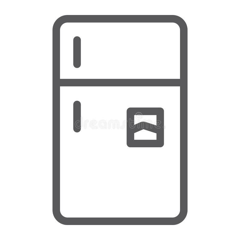 Linha ícone do refrigerador, gelo e agregado familiar, sinal do refrigerador, gráficos de vetor, um teste padrão linear em um fun ilustração stock