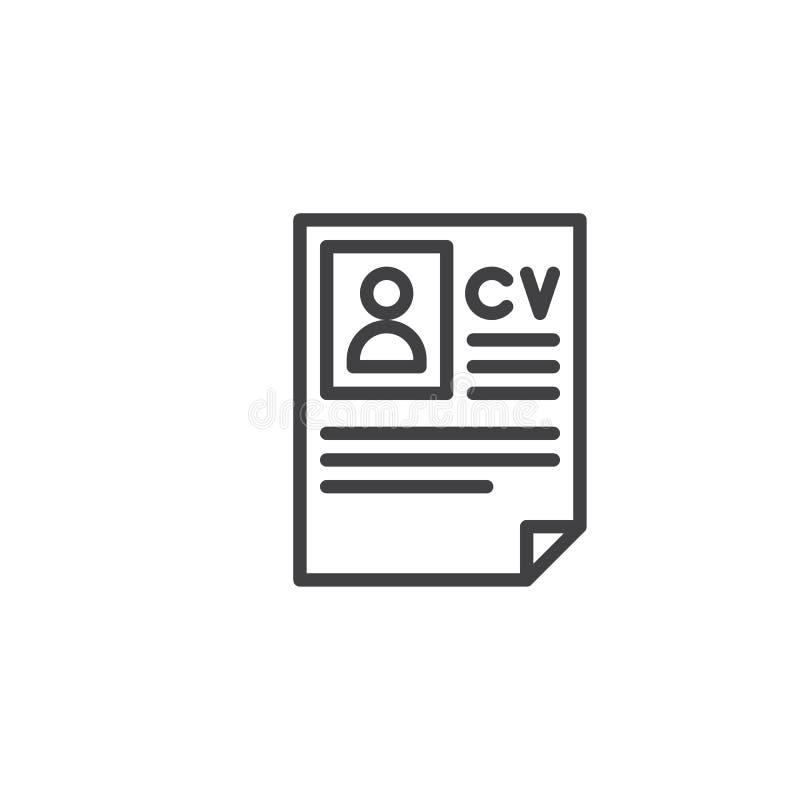 Linha ícone do resumo do Cv ilustração do vetor