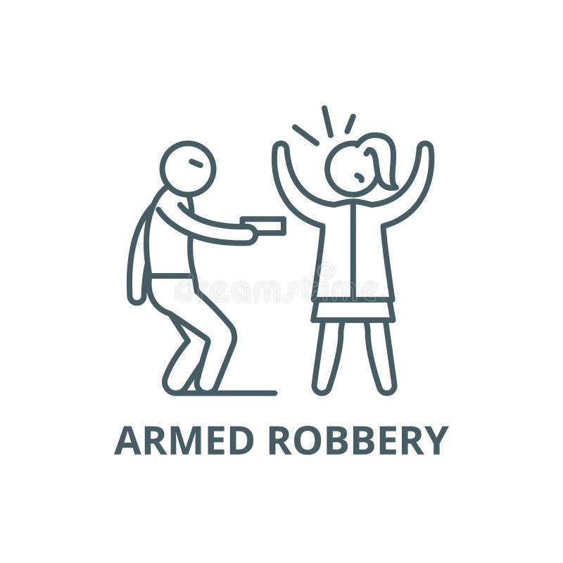 Linha ícone do roubo a mão armada, vetor Sinal do esboço do roubo a mão armada, símbolo do conceito, ilustração lisa ilustração royalty free