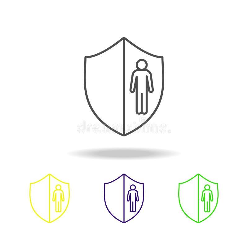 linha ícone do salário do empregado da cor Elemento do ícone de caça principal da cor para apps móveis do conceito e da Web Linha ilustração royalty free