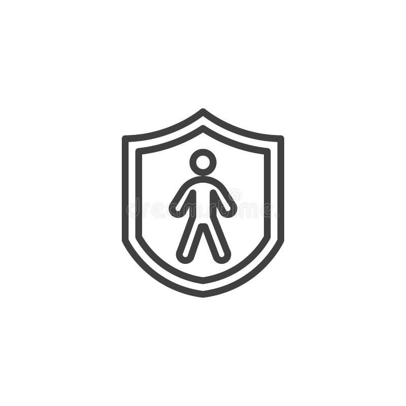 Linha ícone do seguro de vida humana ilustração royalty free