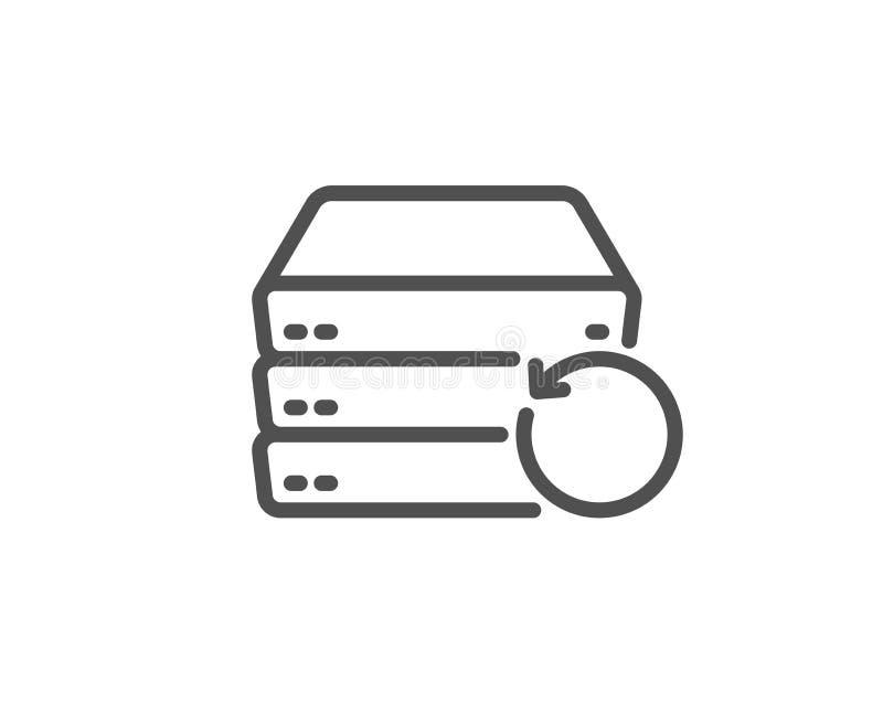 Linha ícone do servidor da recuperação Sinal alternativo dos dados Informa??o da restaura??o Vetor ilustração do vetor