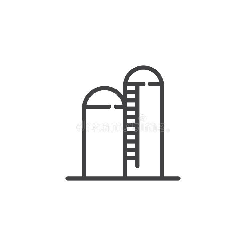Linha ícone do silo ilustração royalty free
