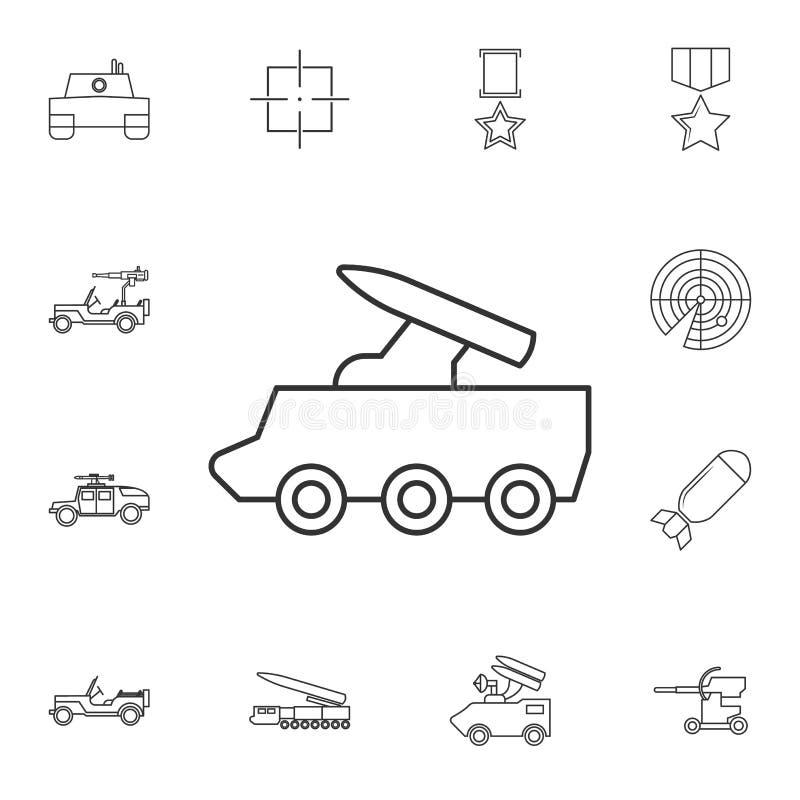 Linha ícone do sistema de mísseis Elemento do ícone popular do exército Projeto gráfico da qualidade superior Sinais, ícone da co ilustração do vetor