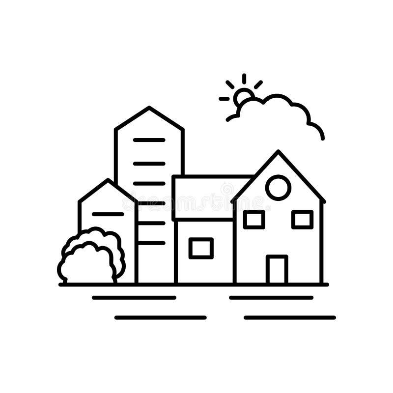 Linha ícone do sol da cidade nataa Elemento do ícone das paisagens ilustração stock