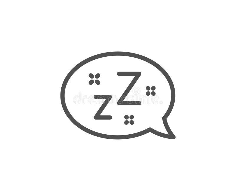 Linha ícone do sono Sinal da bolha do discurso de Zzz Mensagem do bate-papo Vetor ilustração royalty free
