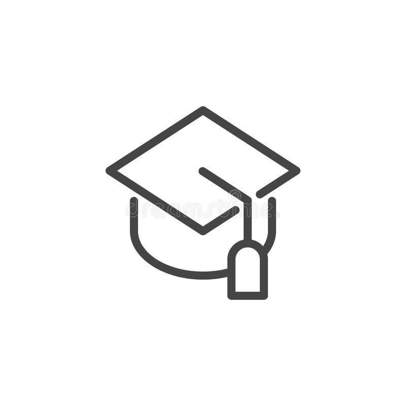 Linha ícone do tampão da graduação Imagem gráfica do chapéu dos estudantes Símbolo da educação, High School, academia, universida ilustração do vetor
