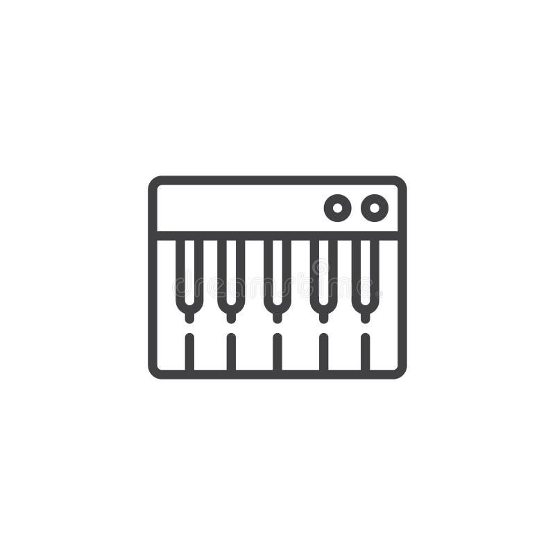 Linha ícone do teclado de piano ilustração stock