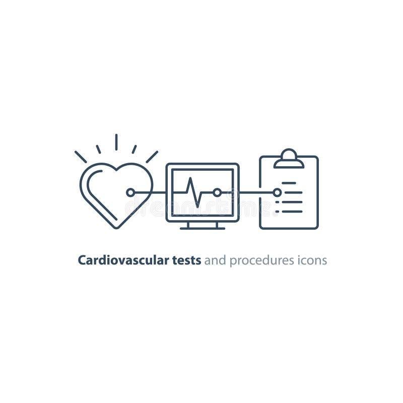 Linha ícone do teste do coração, logotipo do monitor do eletrocardiograma, exame da cardiologia ilustração royalty free