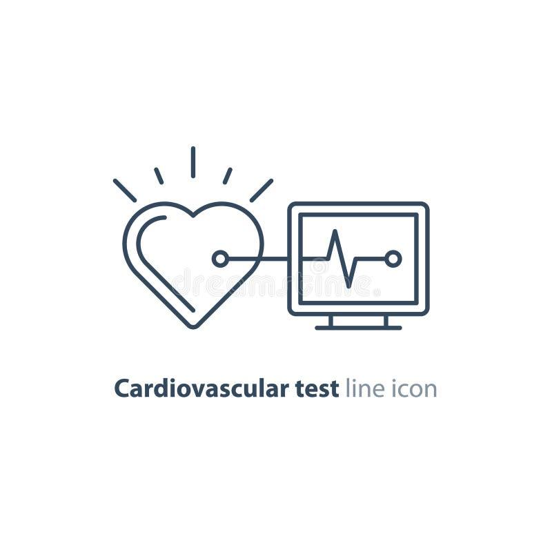 Linha ícone do teste do coração, logotipo do monitor do eletrocardiograma, exame da cardiologia ilustração do vetor