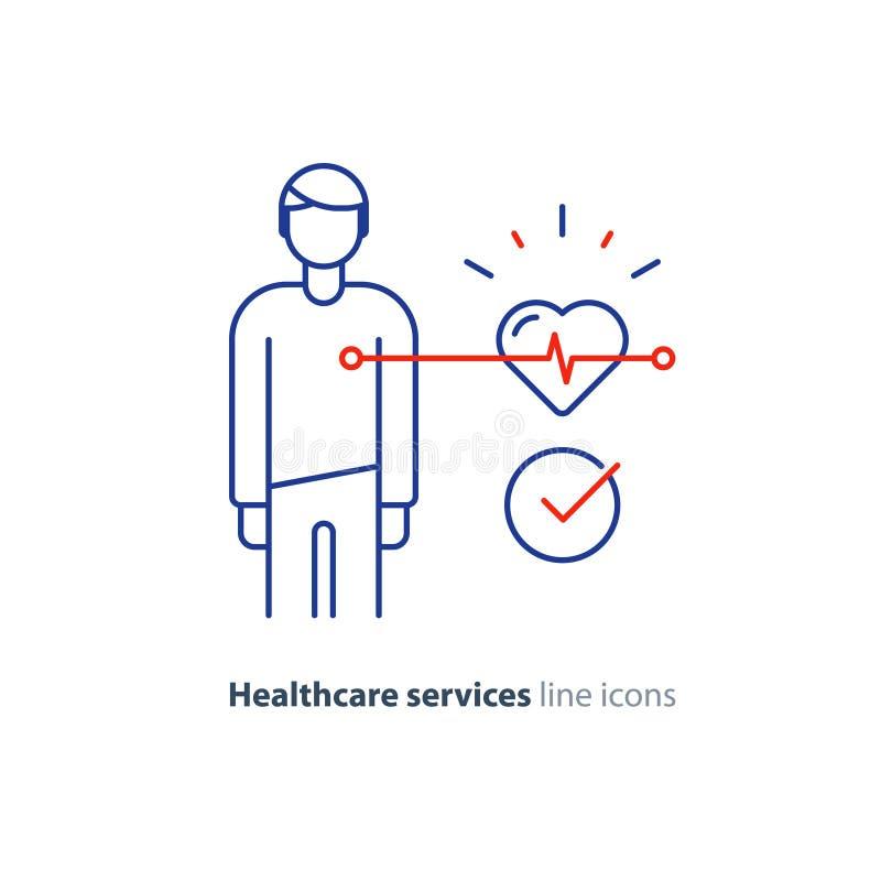 Linha ícone do teste do coração, logotipo do monitor do eletrocardiograma, exame da cardiologia ilustração stock