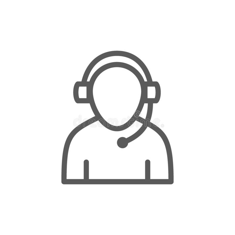Linha ícone do trabalhador do apoio ilustração royalty free