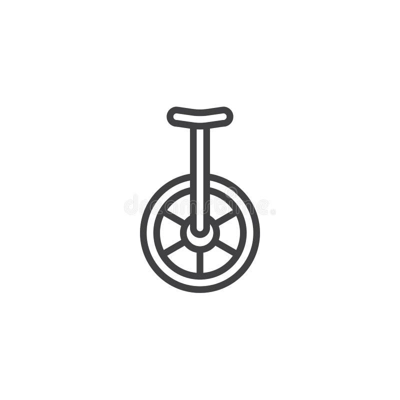 Linha ícone do Unicycle ilustração do vetor