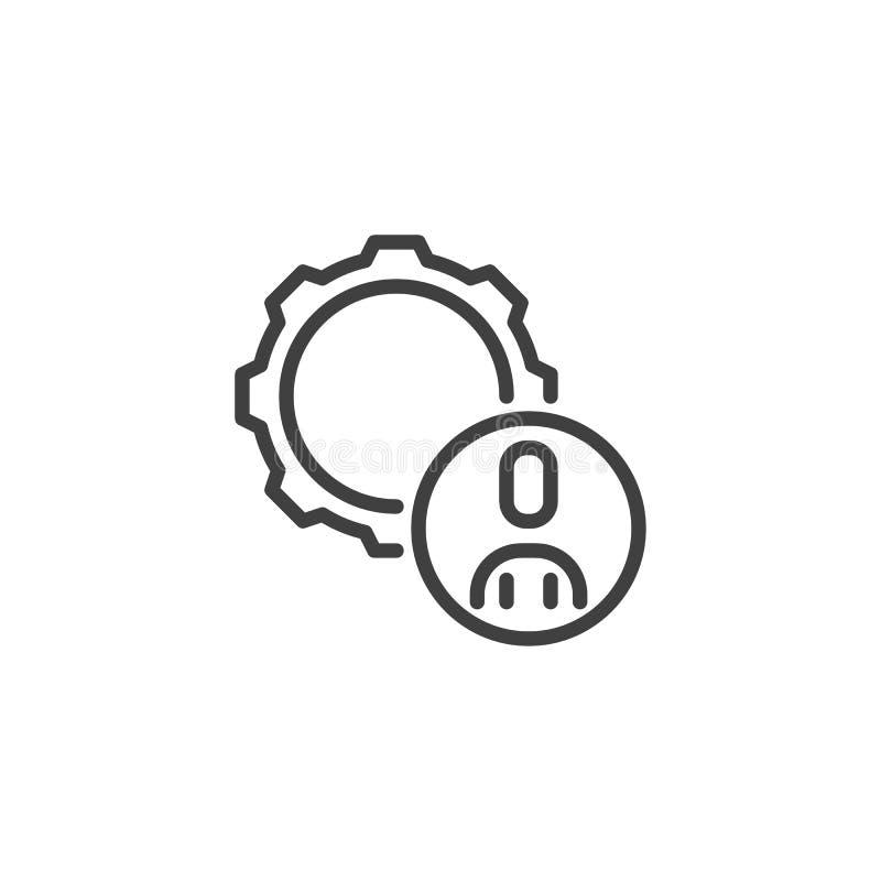 Linha ícone do usuário e da engrenagem ilustração stock