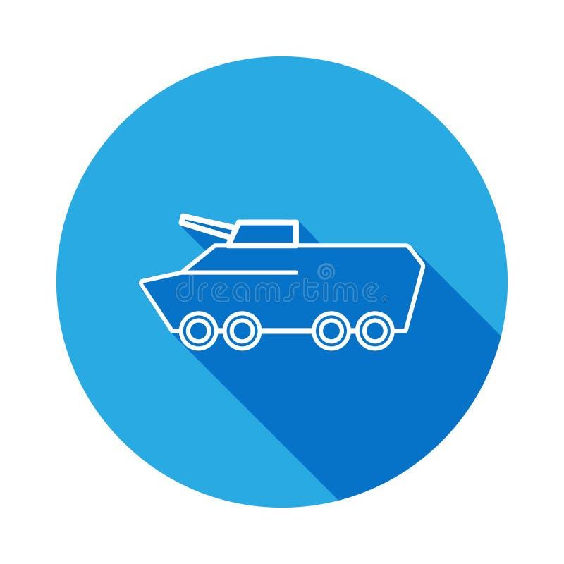Linha ícone do veículo blindado com sombra longa Elemento da ilustração militar Os sinais e os símbolos esboçam o ícone para Web  ilustração do vetor
