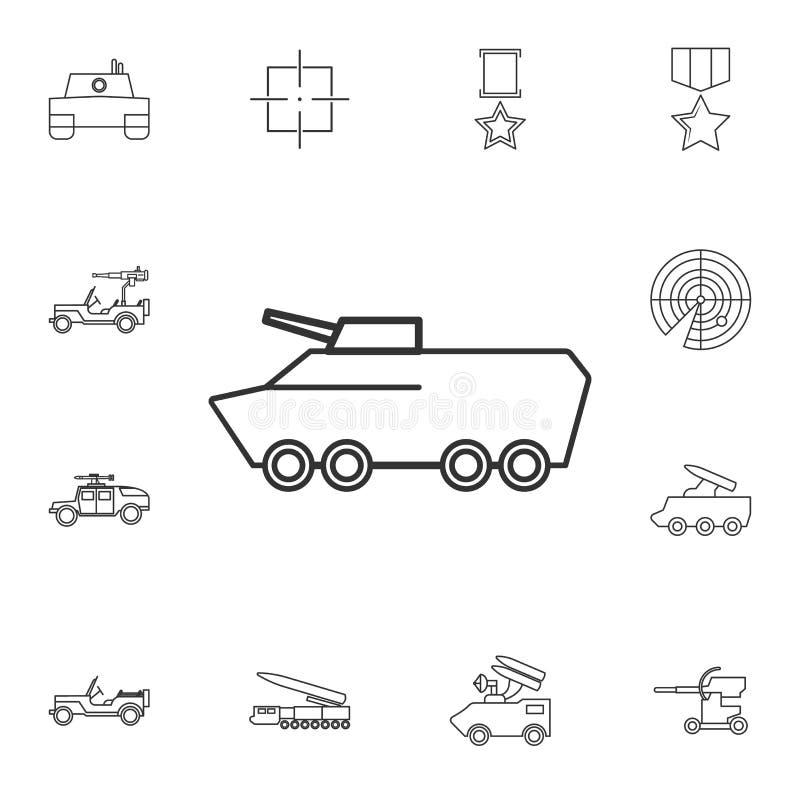 Linha ícone do veículo blindado Elemento do ícone popular do exército Projeto gráfico da qualidade superior Sinais, ícone da cole ilustração stock