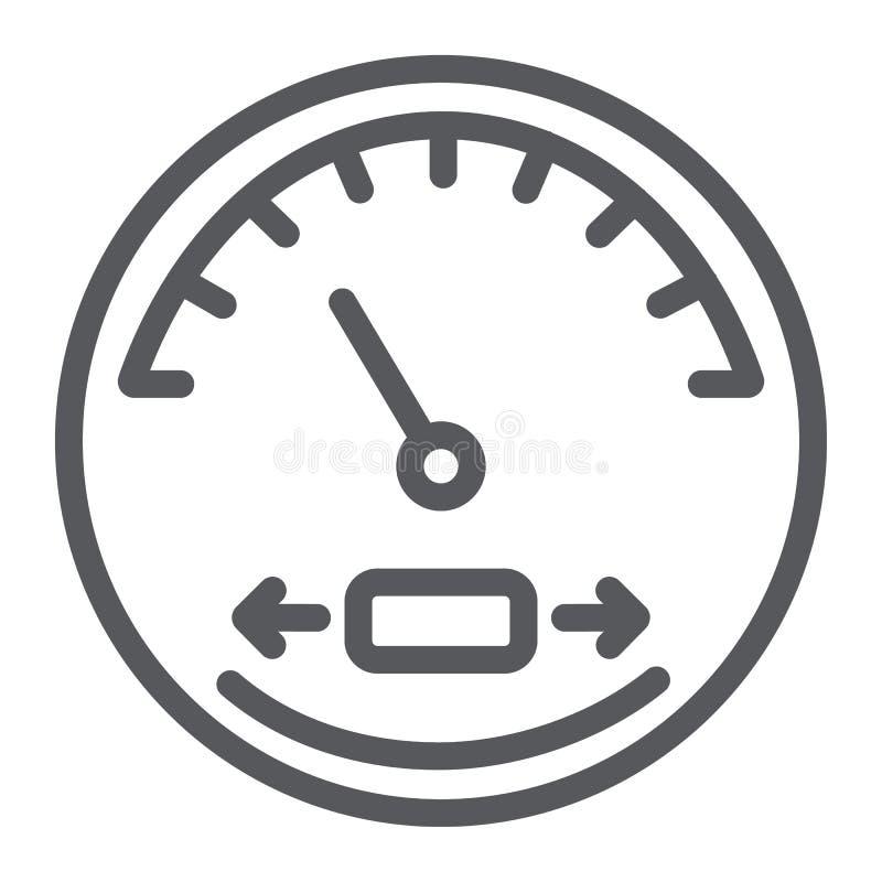 Linha ícone do velocímetro, automóvel e painel, sinal do tacômetro, gráficos de vetor, um teste padrão linear em um fundo branco ilustração royalty free