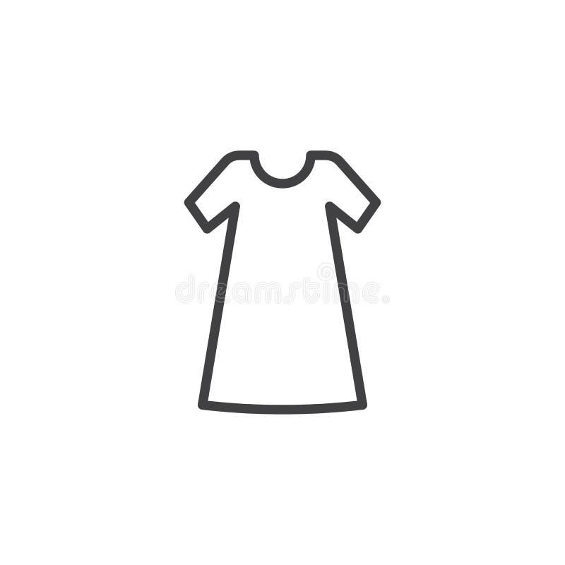 Linha ícone do vestido ocasional ilustração do vetor