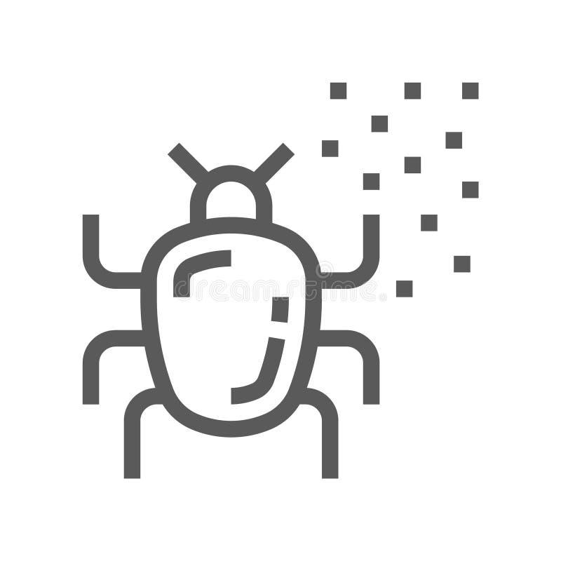 Linha ícone do vetor do ácaro da poeira ilustração stock