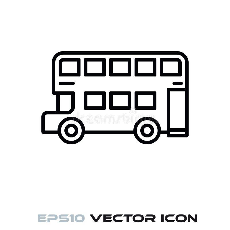 Linha ícone do vetor do ônibus de Doubledecker ilustração stock