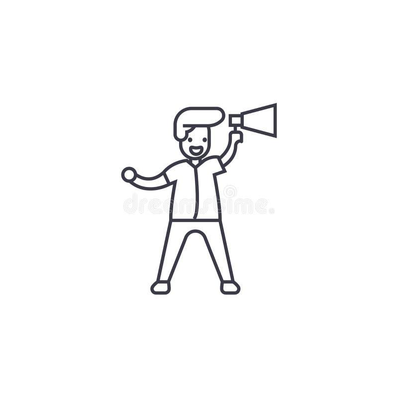 Linha ícone do vetor do anúncio do altifalante, sinal, ilustração no fundo, cursos editáveis ilustração royalty free