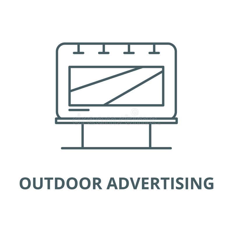 Linha ícone do vetor do anúncio exterior, conceito linear, sinal do esboço, símbolo ilustração royalty free