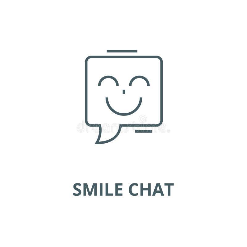 Linha ícone do vetor do bate-papo do sorriso, conceito linear, sinal do esboço, símbolo ilustração stock