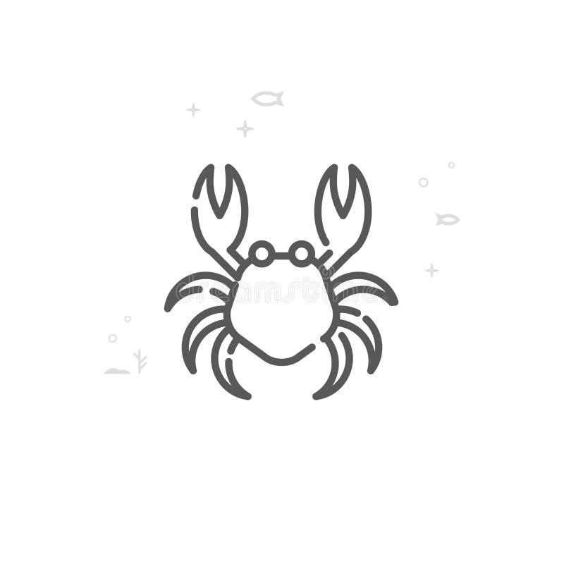 Linha ícone do vetor do caranguejo, símbolo, pictograma, sinal Fundo geométrico abstrato claro Curso editável ilustração stock