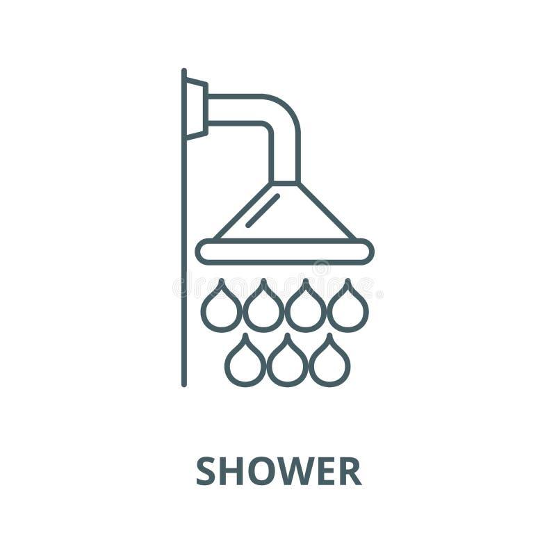 Linha ícone do vetor do chuveiro, conceito linear, sinal do esboço, símbolo ilustração do vetor