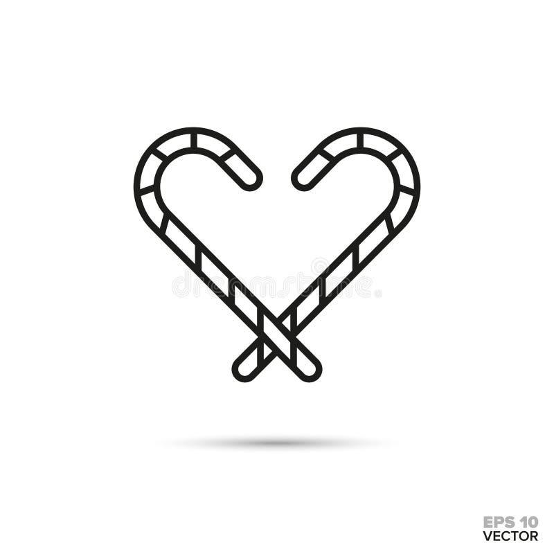 Linha ícone do vetor do coração dos bastões de doces ilustração do vetor