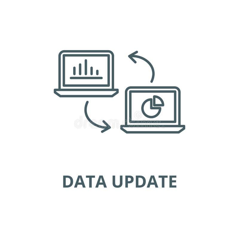 Linha ícone do vetor da atualização dos dados, conceito linear, sinal do esboço, símbolo ilustração do vetor