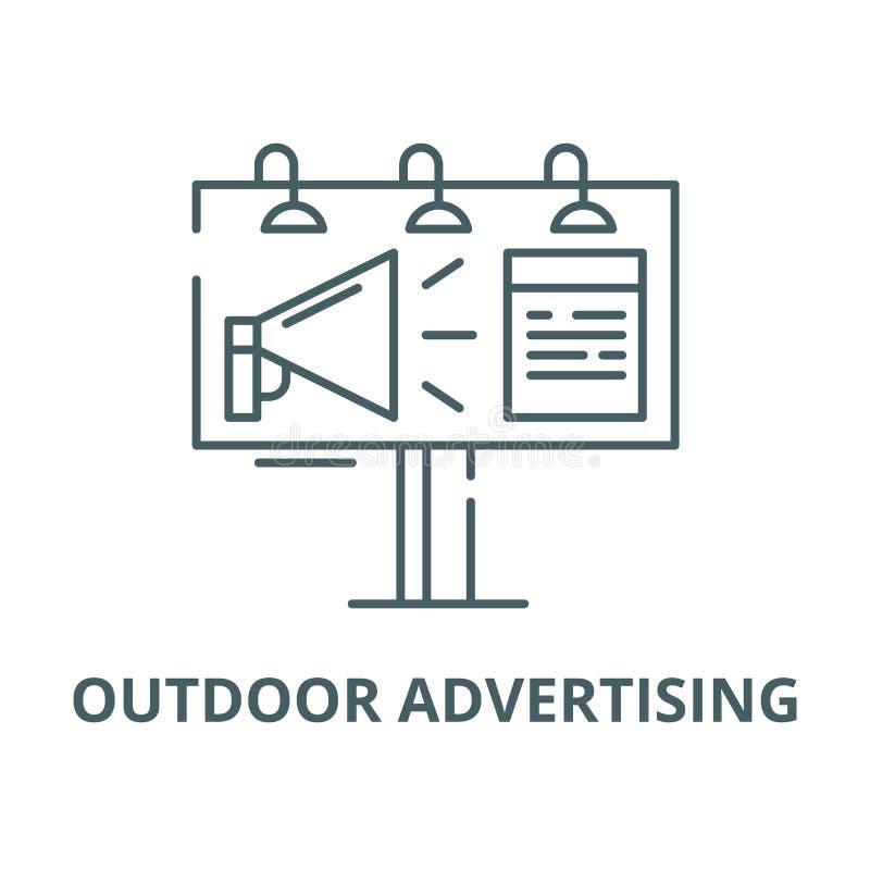 Linha ícone do vetor da bandeira do anúncio exterior, conceito linear, sinal do esboço, símbolo ilustração stock
