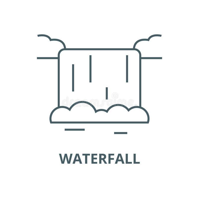 Linha ícone do vetor da cachoeira, conceito linear, sinal do esboço, símbolo ilustração stock
