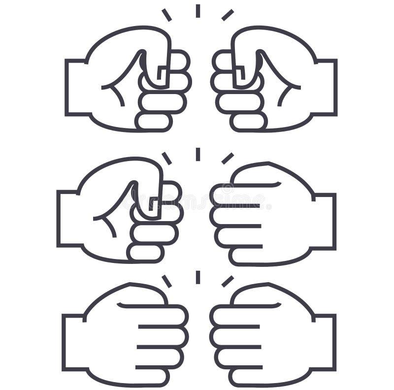 Linha ícone do vetor da colisão do punho, sinal, ilustração no fundo, cursos editáveis ilustração stock