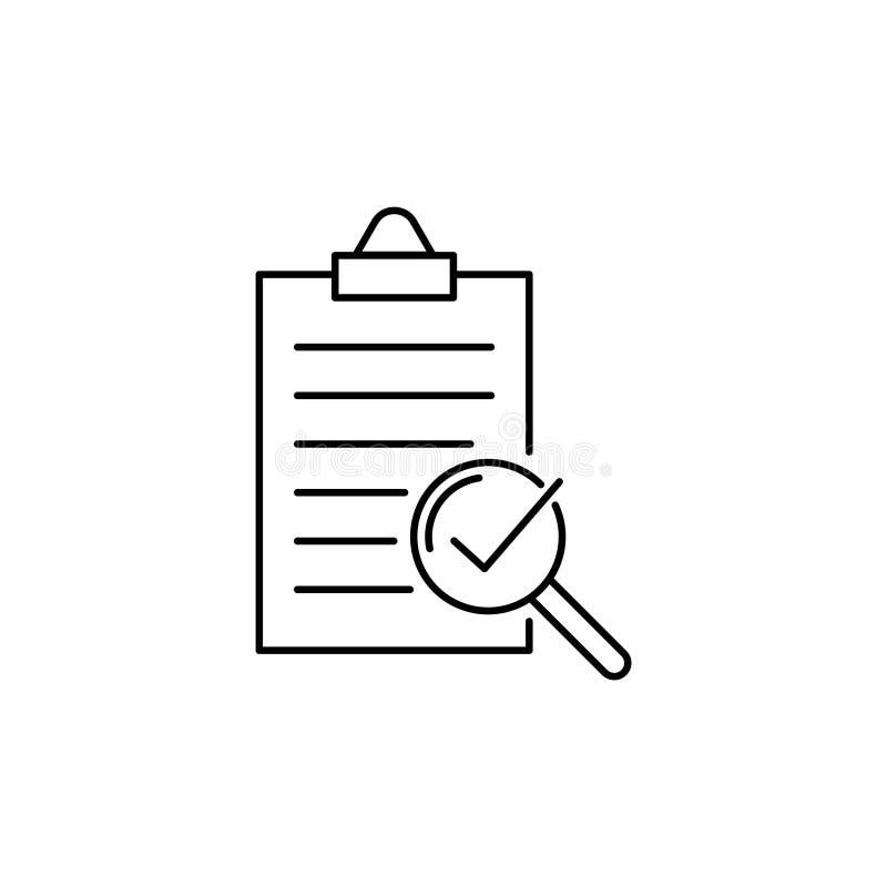Linha ícone do vetor da conformidade, verificação da qualidade ilustração royalty free