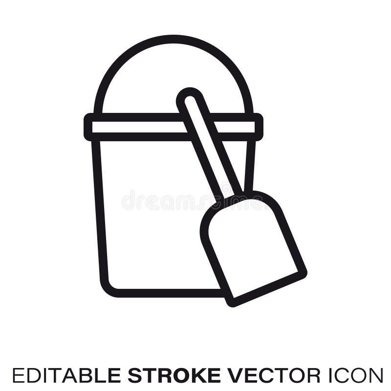 Linha ícone do vetor da cubeta e da pá da areia ilustração do vetor