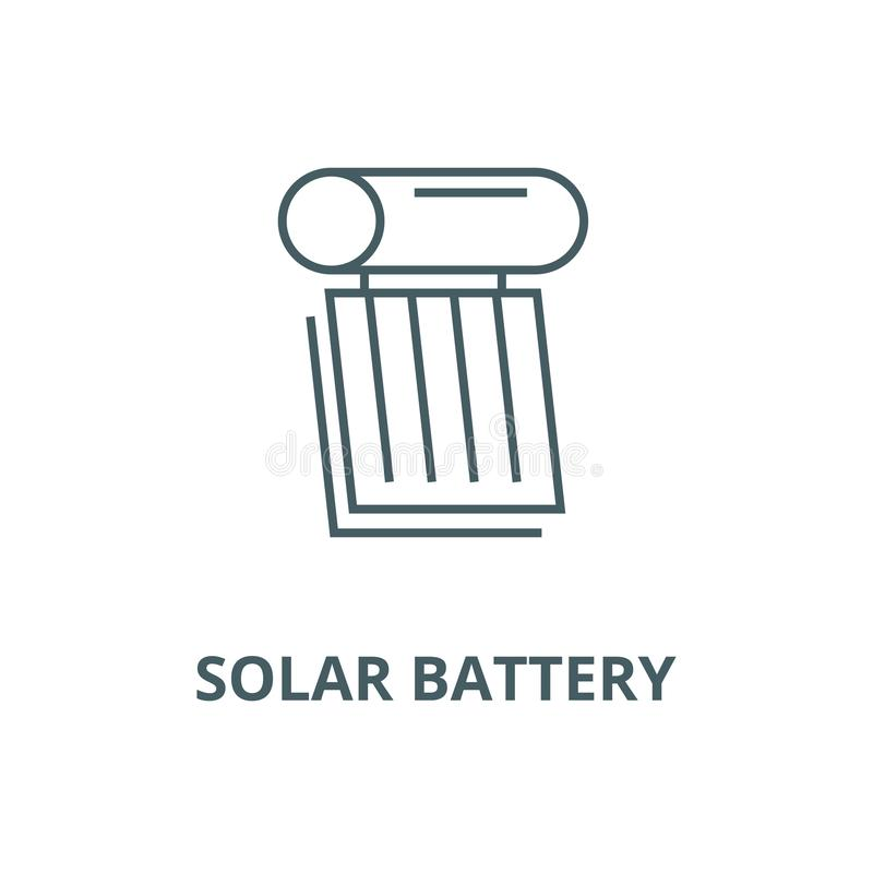 Linha ícone do vetor da ilustração da bateria solar, conceito linear, sinal do esboço, símbolo ilustração royalty free
