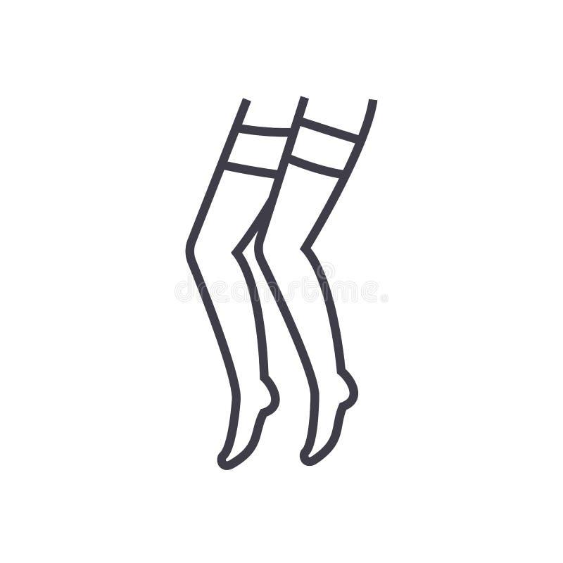 Linha ícone do vetor da meia-calça, sinal, ilustração no fundo, cursos editáveis ilustração royalty free