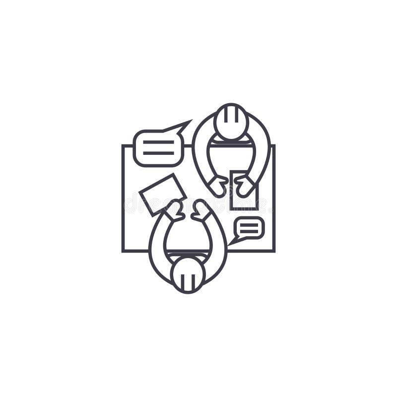 Linha ícone do vetor da oficina do negócio, sinal, ilustração no fundo, cursos editáveis ilustração do vetor