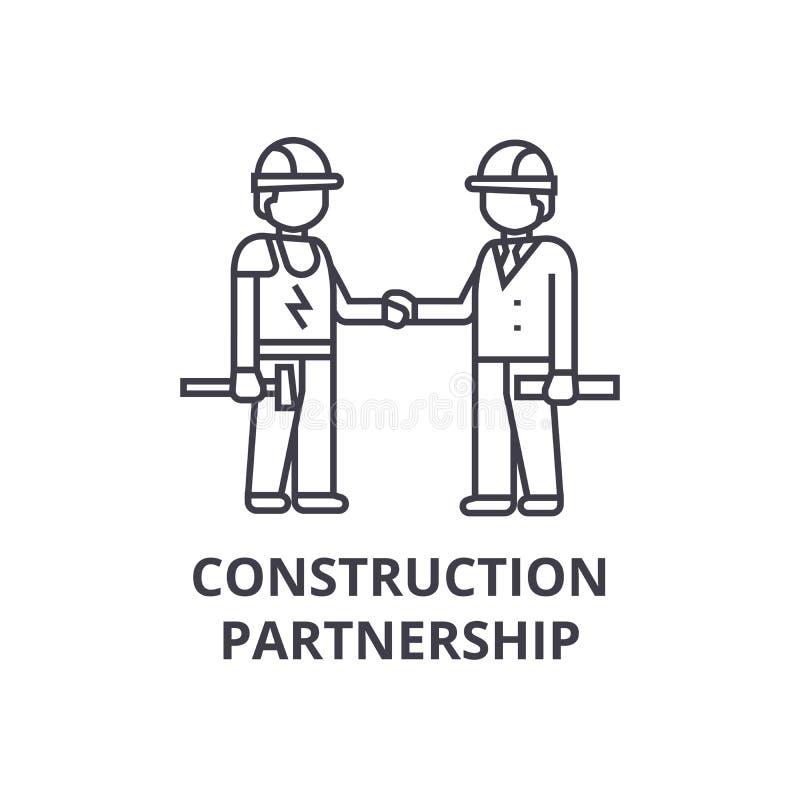 Linha ícone do vetor da parceria da construção, sinal, ilustração no fundo, cursos editáveis ilustração do vetor