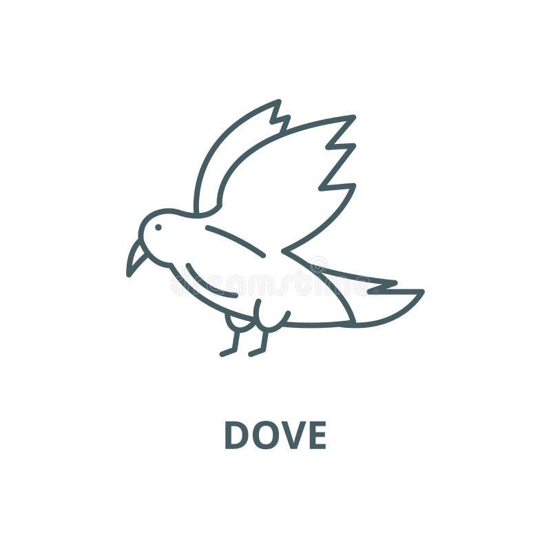 Linha ícone do vetor da pomba, conceito linear, sinal do esboço, símbolo ilustração do vetor