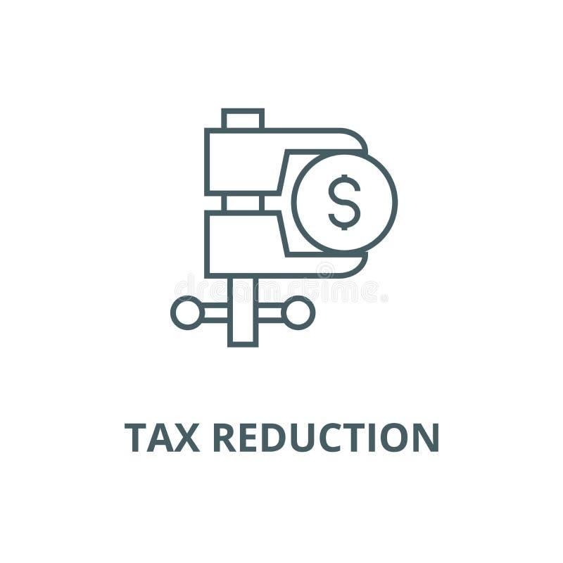 Linha ícone do vetor da redução de imposto, conceito linear, sinal do esboço, símbolo ilustração stock